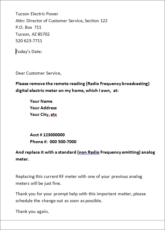Smart Meter Opt Out And Meter Change Out Request Letter